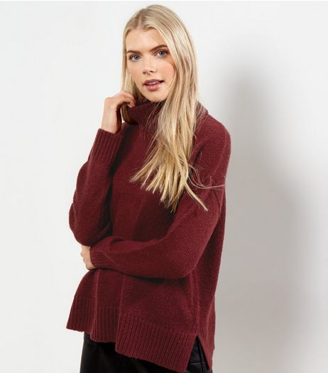 Dark Purple Turtle Neck Jumper  | New Look