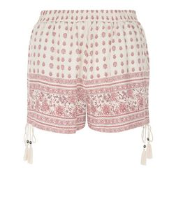 White Folk Print Tie Side Shorts  | New Look