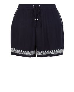 Navy Embroidered Trim Tassel Hem Shorts  | New Look