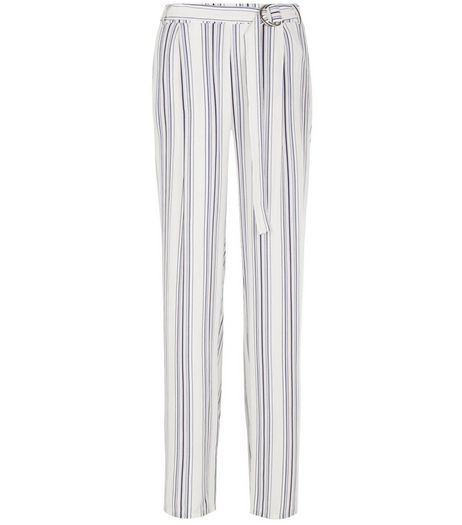 White Stripe Wide Leg Trousers  | New Look