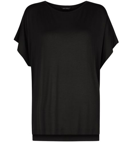 Black Step Hem Oversized T-Shirt | New Look