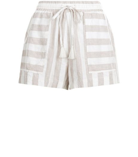 White Linen Mix Stripe Double Pocket Shorts  | New Look