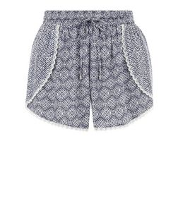 Blue Tie Print Crochet Trim Runner Shorts  | New Look
