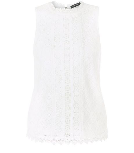Cream Lace Trim Sleeveless Top  | New Look