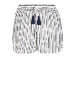 Cream Stripe Yarn Dye Shorts  | New Look