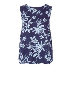 Blue Tropical Print Cut Out Back Sleeveless Top  | New Look