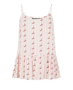 White Floral Stripe Peplum Cami  | New Look