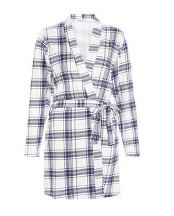 Blue Check Tie Waist Dressing Gown  | New Look