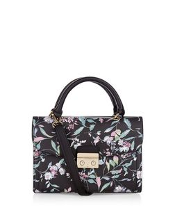 Black Floral Print Mini Satchel  | New Look