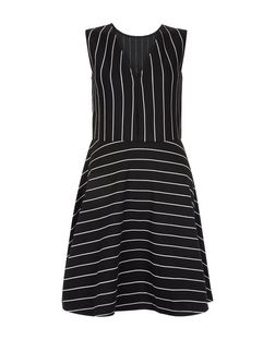 Blue Vanilla Black Stripe V Neck Skater Dress  | New Look