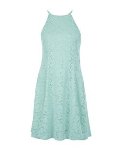 Mint Green Floral Flounce Lace Skater Dress | New Look