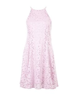 Lilac Floral Flounce Lace Skater Dress  | New Look