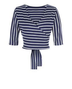 Blue Vanilla Navy Stripe Tie Back Top | New Look