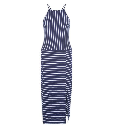 Blue Vanilla Navy Stripe Split Front Dress | New Look