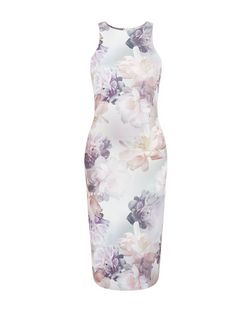 White Floral Print Bodycon Midi Dress  | New Look