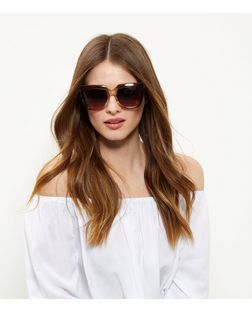 Gold Flat Top Sunglasses | New Look
