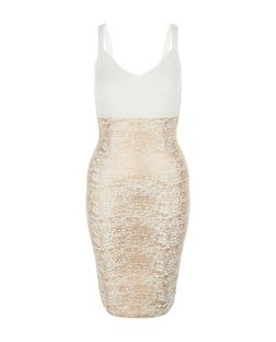 White Premium Foil Textured Panel Bodycon Dress  | New Look