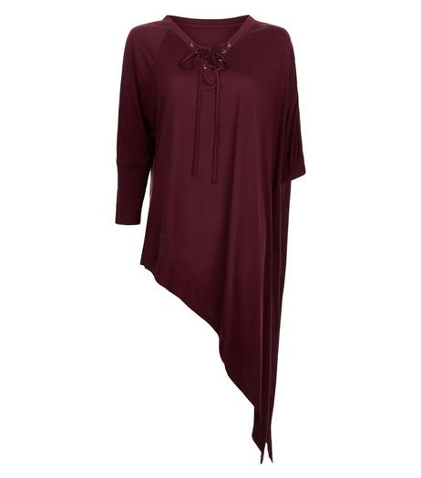 Anita and Green Burgundy Tie Neck Asymmetric Top | New Look