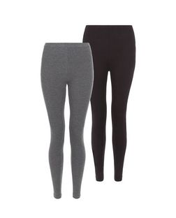 2 Pack Black and Grey Leggings  | New Look