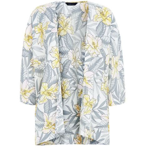 White Tropical Print Kimono | New Look