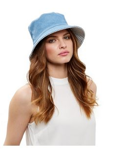 Blue Washed Denim Bucket Hat  | New Look