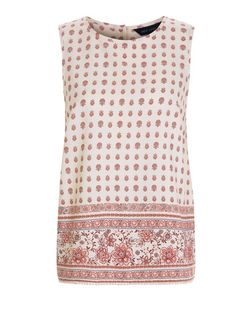 White Tile Print Sleeveless Top | New Look