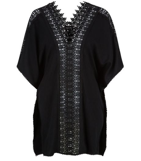 Black Sheer Crochet Panel Kaftan | New Look