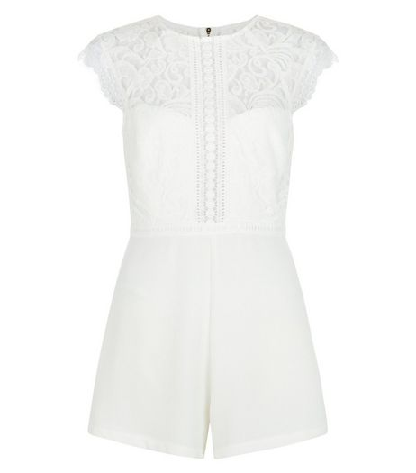 White Premium Lace Panel Playsuit  | New Look