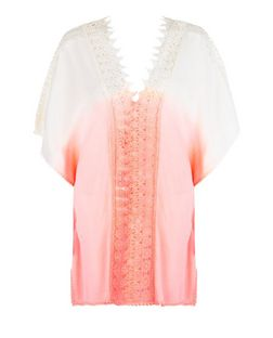 Pink Dip Dye Crochet Kaftan | New Look