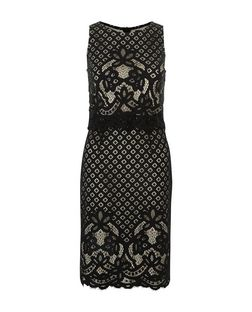 Black Lace Layered Bodycon Midi Dress  | New Look