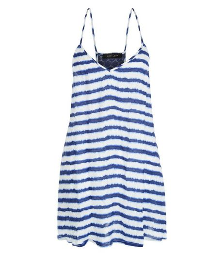 Blue Stripe Tie Dye Print Dress | New Look
