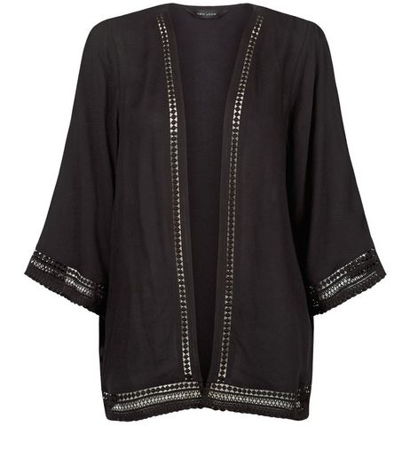 Black Crochet Trim Kimono  | New Look