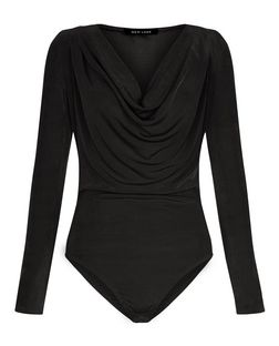 Black Cowl Neck Long Sleeve Bodysuit | New Look