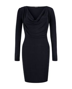 Black Cowl Neck Long Sleeve Bodycon Dress  | New Look