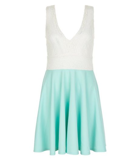 Green V Neck Lace Panel Skater Dress  | New Look