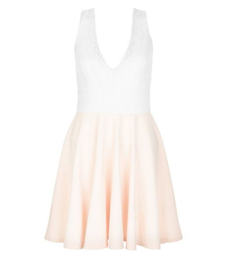 Pink V Neck Lace Panel Skater Dress  | New Look