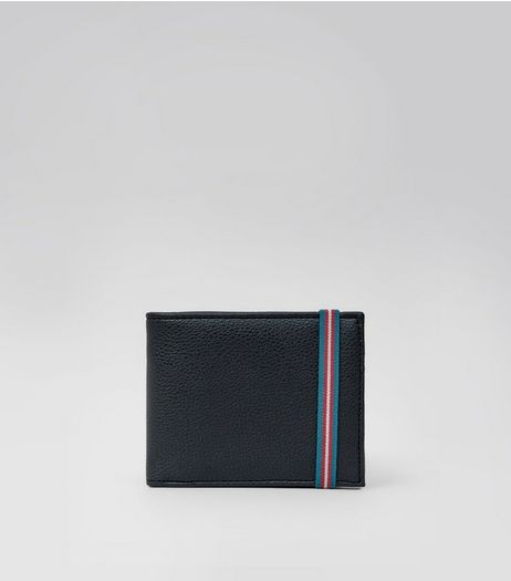 Black Textured Elasticated Wallet  | New Look