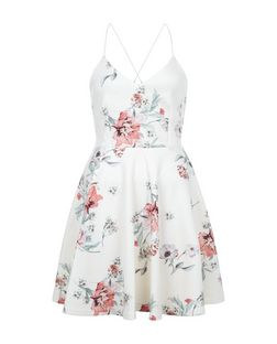 White Floral Print V Neck Skater Dress  | New Look