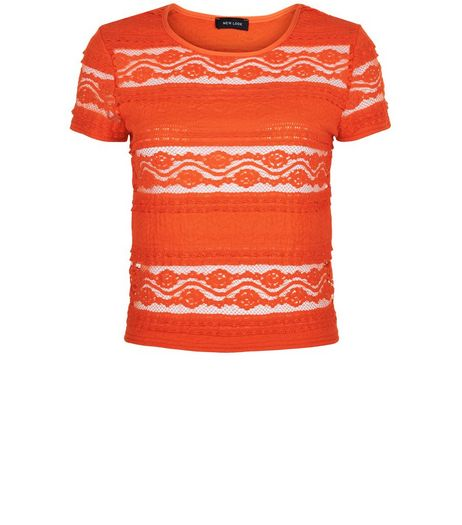 Bright Orange Frill Lace T-Shirt  | New Look