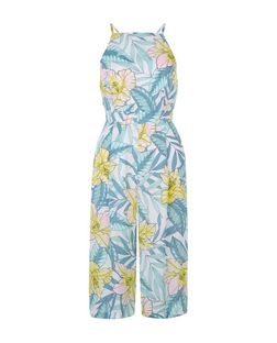 Petite White Tropical Print Culotte Jumpsuit | New Look