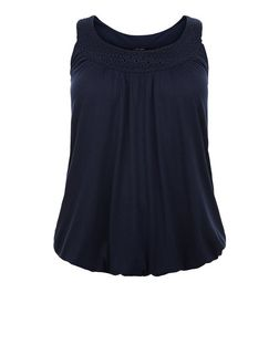 Curves Navy Crochet Trim Bubble Hem Vest | New Look