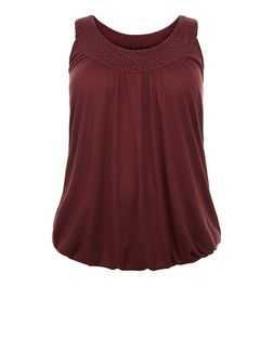 Curves Burgundy Crochet Trim Bubble Hem Vest  | New Look