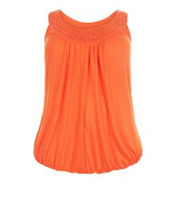 Plus Size Bright Orange Crochet Trim Bubble Hem Vest  | New Look