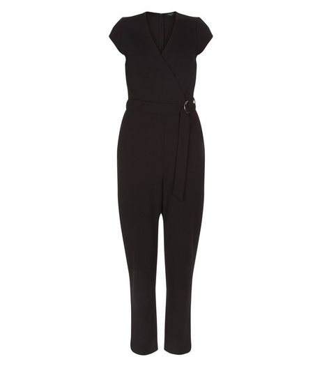 Tall Black Wrap D-Ring Belted Jumpsuit  | New Look