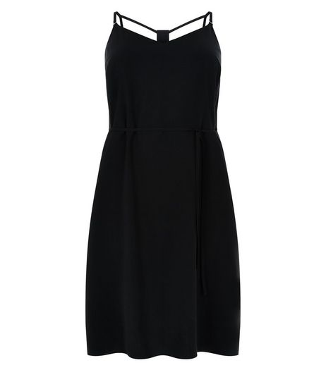 Curves Black Strappy Slip Dress | New Look
