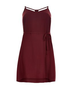 Curves Burgundy Strappy Slip Dress | New Look