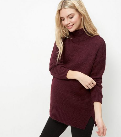 Maternity Burgundy Turtle Neck Jumper | New Look