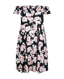 Curves Pink Floral Print Bardot Neck Midi Dress | New Look