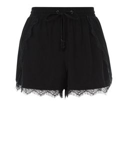 Black Lace Trim Runner Shorts | New Look