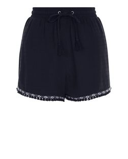 Navy Aztec Tape Fray Trim Shorts  | New Look